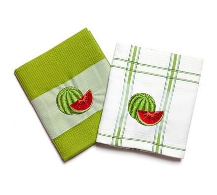Kuchyňské utěrky Meloun, 45  x70 cm, sada 2 ks, zelená, 45 x 70 cm