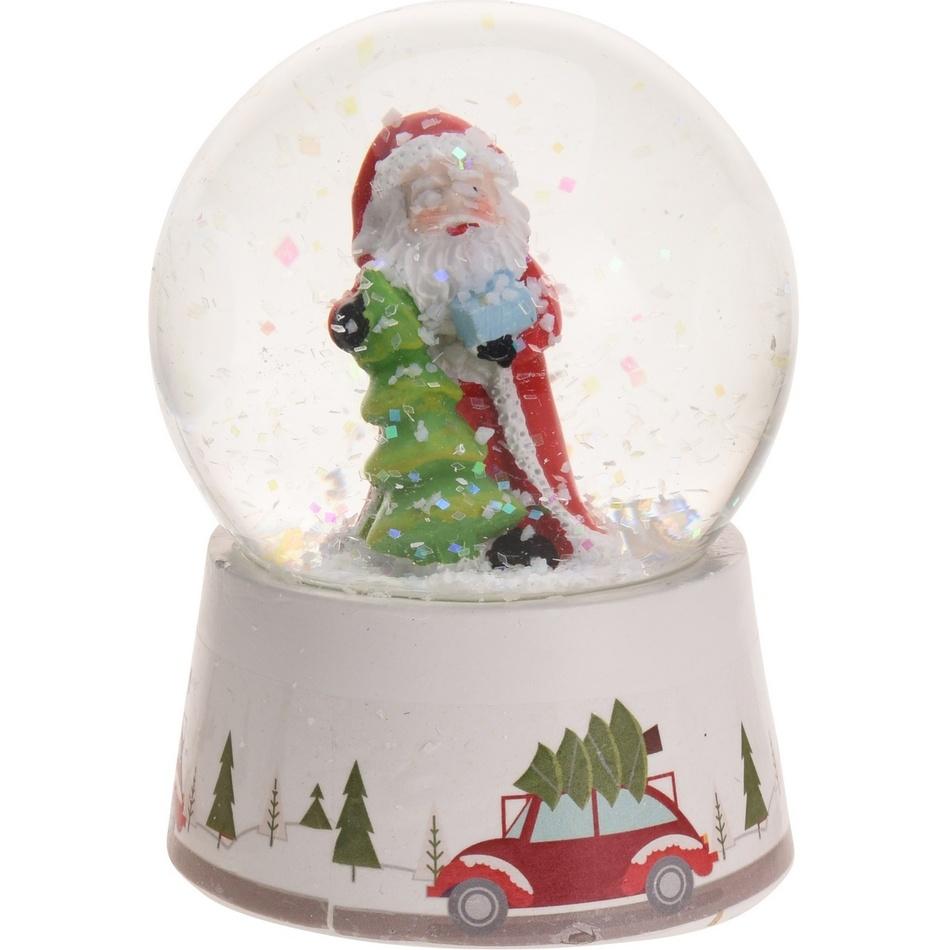 Vánoční sněžítko Santa with Tree, 8,5 cm