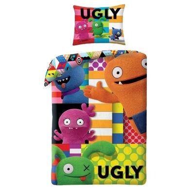 Lenjerie din bumbac, pentru copii Ugly DoolsPatchwork, 140 x 200 cm, 70 x 90 cm