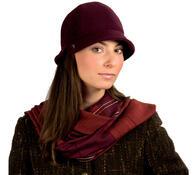 Dámský flaušový klobouk, černá, 55 - 56