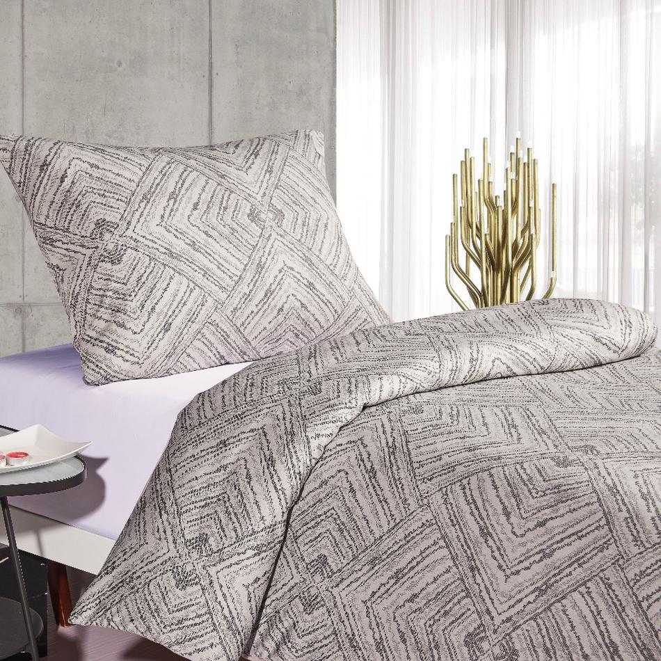 BO-MA Trading Saténové povlečení Brissa Geometrie, světle šedá, 140 x 200 cm, 70 x 90 cm