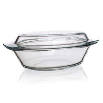 Tavă ovală de copt Simax, din sticlă, cu capac, 4,4 l