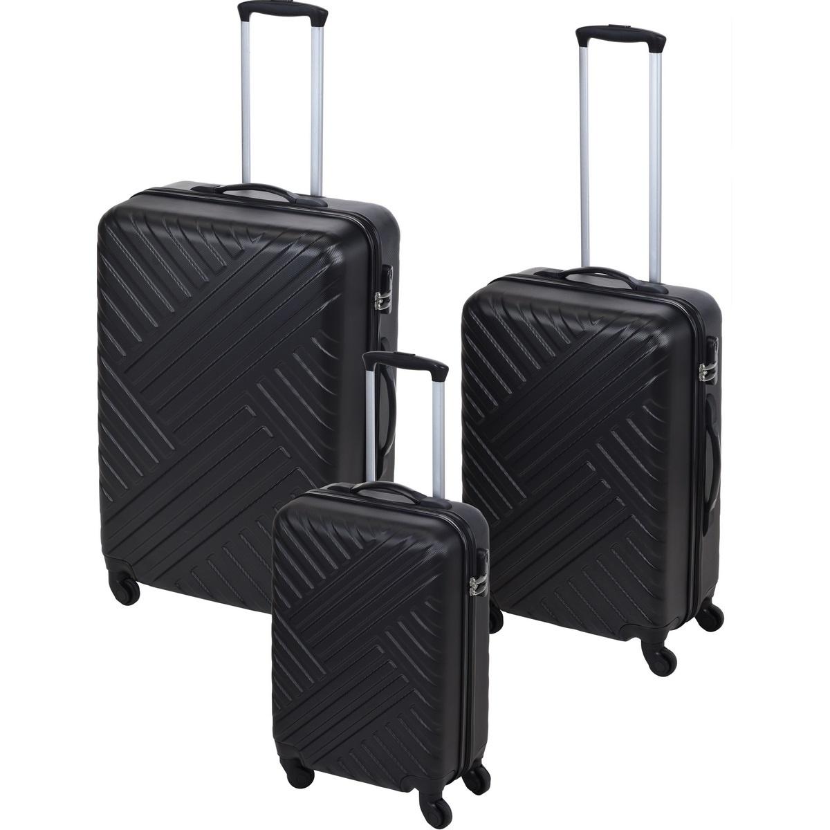 Koopman Sada skořepinových kufrů na kolečkách 3 ks, černá