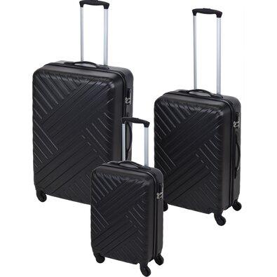 Sada skořepinových kufrů na kolečkách 3 ks, černá