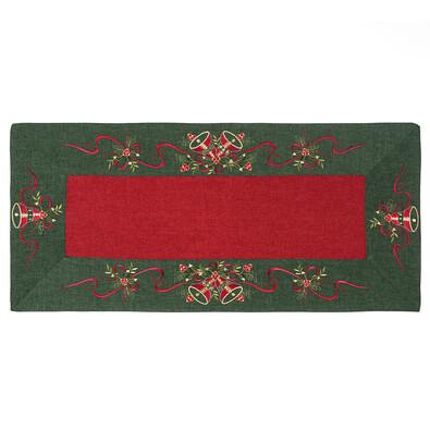 Vánoční ubrus Zvonečky zelený lem, 40 x 90 cm