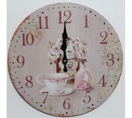 Nástěnné hodiny růže a šálek