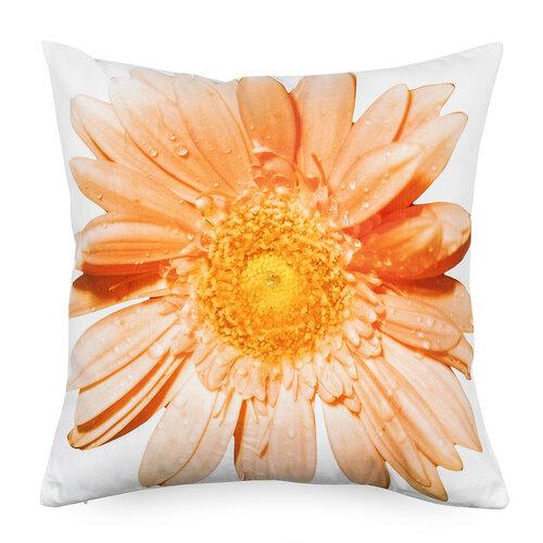Povlak na polštářek oranžový květ, 45 x 45 cm