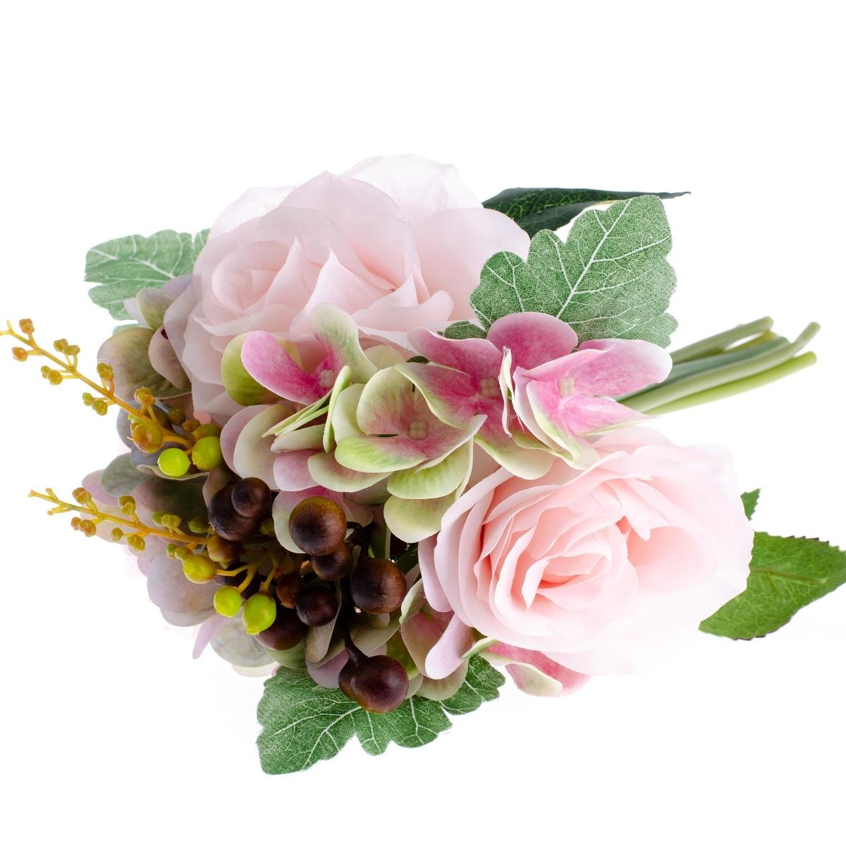Umělá kytice Růže s hortenzií světle růžová, 30 cm