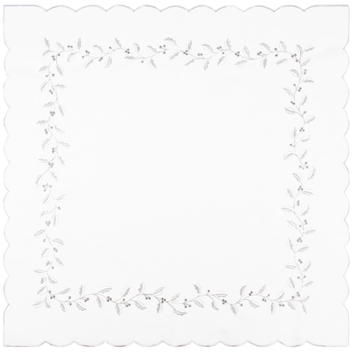 Vánoční ubrus Cesmína bílá, 85 x 85 cm
