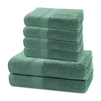 DecoKing Sada ručníků a osušek Marina tmavě zelená, 4 ks 50 x 100 cm, 2 ks 70 x 140 cm