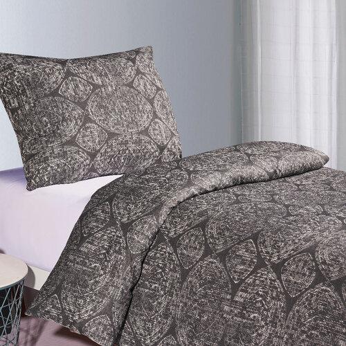 Lenjerie de pat Brissa Abstrakt, din bumbac, gri închis, 140 x 200 cm, 70 x 90 cm