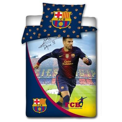 Bavlněné povlečení FCB Piqué s podpisem, 140 x 200 cm, 70 x 80 cm