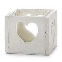 Dřevěný svícen srdce bílá