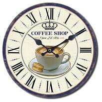 Nástenné hodiny Coffee shop, pr. 28 cm