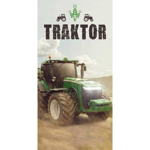 Traktoros törölköző, green, 70 x 140 cm