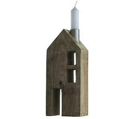 Dřevěný domek na svíčku 23x9,5x7cm, Madam Stoltz, hnědá