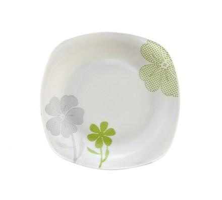 Dezertní talíř, 6 ks, bílá + zelená, bílá