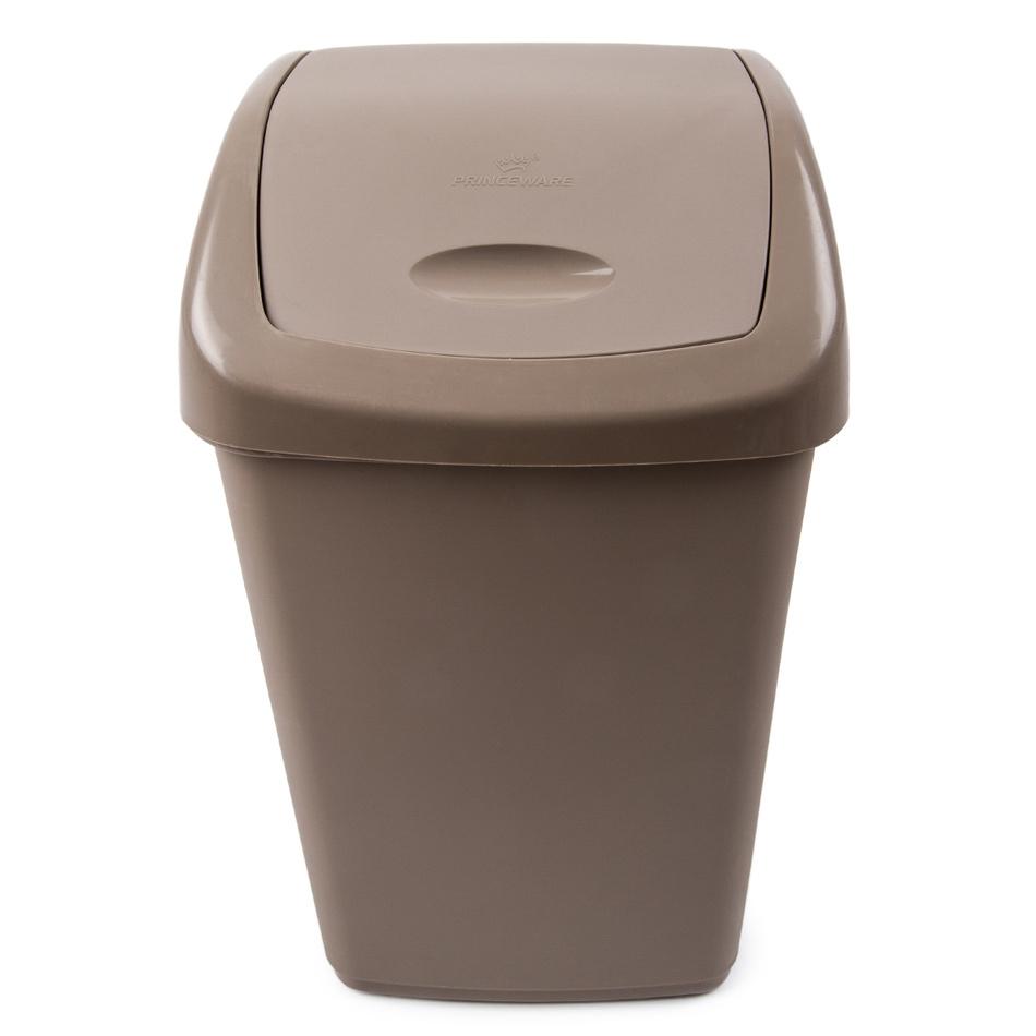 Odpadkový plastový výklopný koš 15 l, hnědá