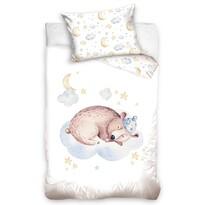 Lenjerie de pat din bumbac, pentru copii,Urs dormind, 100 x 135 cm, 40 x 60 cm