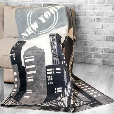 Fleecová deka New York šedá 150 x 200 cm