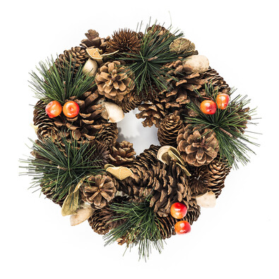 Dekorativní vánoční věnec se šiškami pr. 25 cm