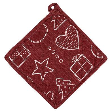Angyalka karácsonyi alátét, piros, 20 x 20 cm