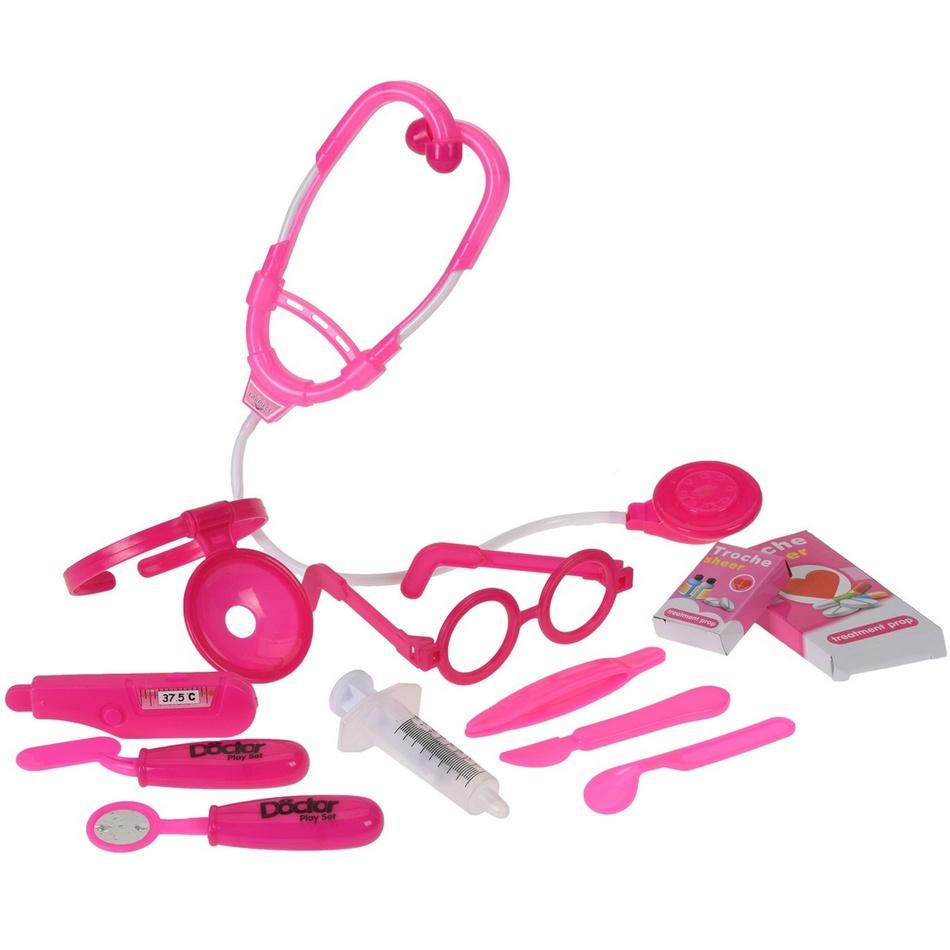 Dětský hrací set Doctor růžová, 12 ks