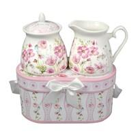Porcelán cukortartó és tejkiötő készlet  ajándékcsomagolásban Rózsaszín virágok