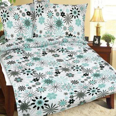 Bellatex Krepové obliečky Kvietok tyrkysová, 140 x 200 cm, 70 x 90 cm