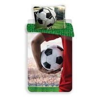 Lenjerie de pat din bumbac pentru copii Fotbalist cu minge, 140 x 200 cm, 70 x 90 cm
