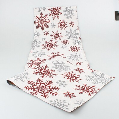 Bieżnik Płatki śniegu czerwony, 33 x 140 cm