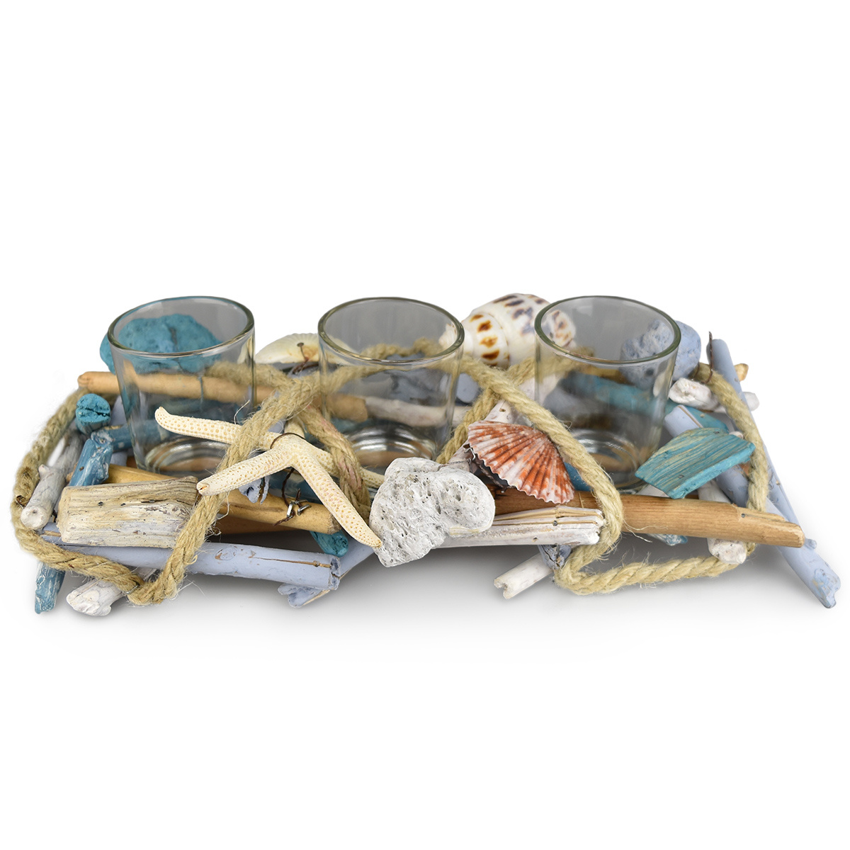 Dommio Ratanový svícen na 3 čajové svíčky Mare, 30 x 14 cm