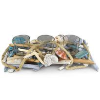 Dommio Świecznik rattanowy na 3 świeczki do podgrzewacza Mare, 30 x 14 cm