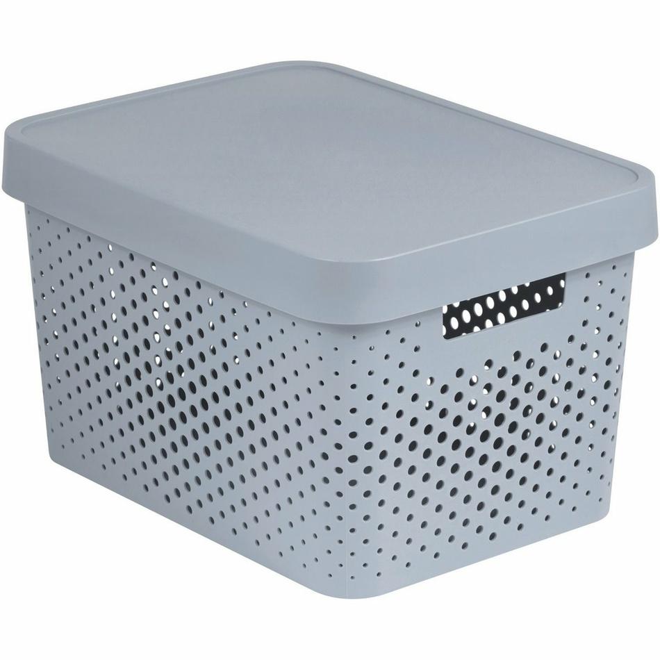 Úložný box INFINITY 17l s víkem šedý - puntíky 04742-099
