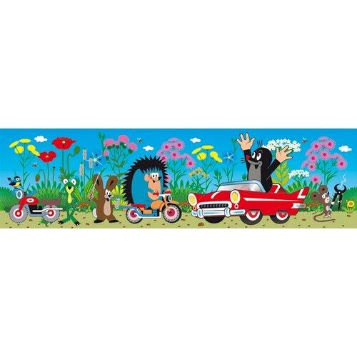 Samolepicí bordura Krteček a auto, 500 x 14 cm