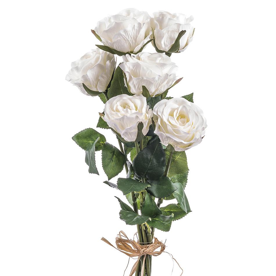 Umelá kvetina ruže, biela, 6 ks, Livo