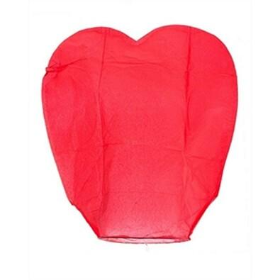 Lampiony štěstí - srdce, sada 10 kusů