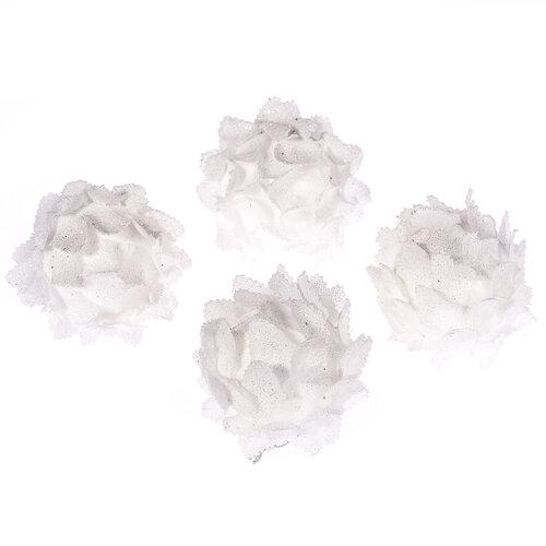 Virág habdísz átm. 6 cm, fehér, 4 db