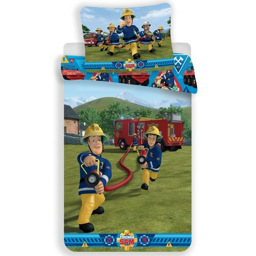 Detské bavlnené obliečky požiarnik Sam v akcii, 140 x 200 cm, 70 x 90 cm
