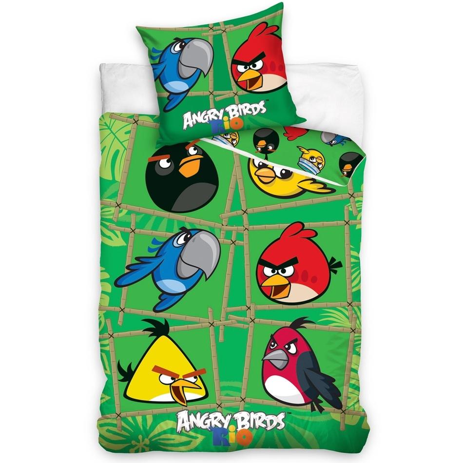 Tip Trade Dětské bavlněné povlečení Angry Birds Green, 140 x 200 cm, 70 x 90 cm