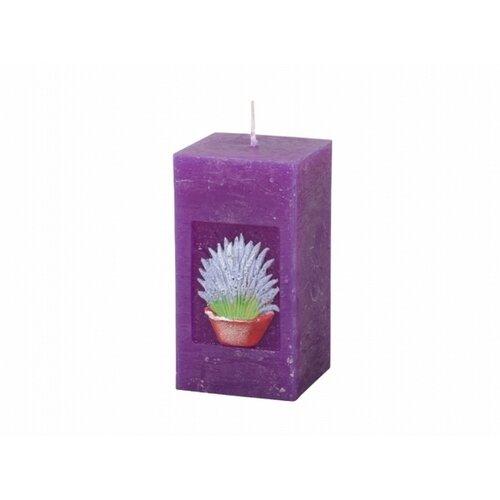 Vyřezávaná svíčka Levandule, hranol