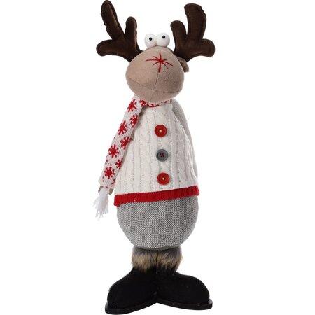 Ren de Crăciun în pulover alb, 43 cm