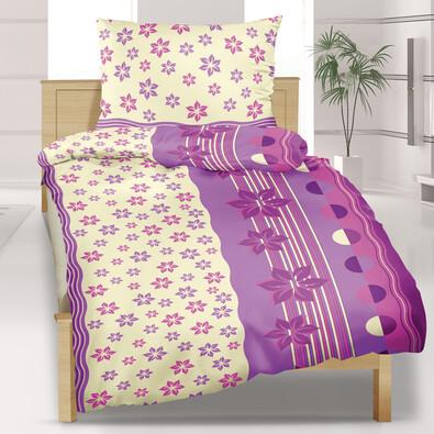 Flanelové povlečení Květiny fialové, 140 x 200 cm, 70 x 90 cm