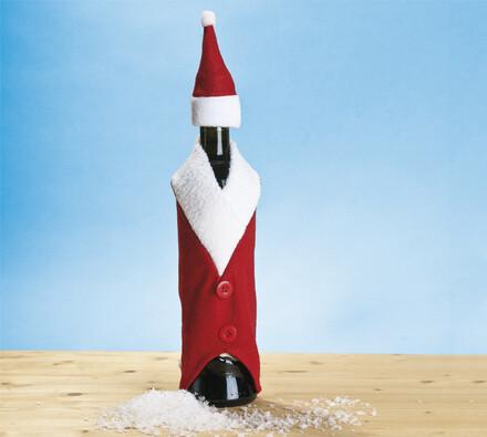 Vánoční obal na láhev, bílá + červená