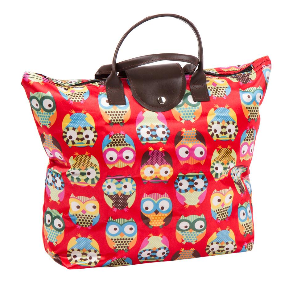 Skládací taška Sovičky, červená