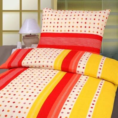 Bavlněné povlečení Verona 140x200, 70x90 cm, červená + oranžová, 140 x 200 cm, 70 x 90 cm