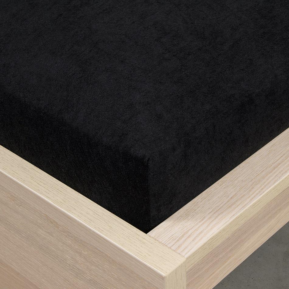 Zľava  4home froté prestieradlo čierna, 160 x 200 cm