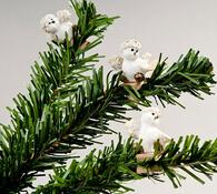 Dekorativní kolíčky s ptáčkem, 6 kusů, bílá