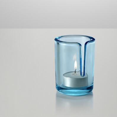 Svícen Match 8 cm, světle modrý