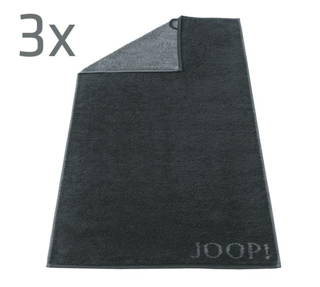 Ručník Doubleface JOOP!, černá, sada 3 ks,  50 x 100 cm